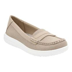 Women's Clarks Jocolin Maye Penny Loafer Sand Perforated Textile