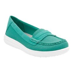 Women's Clarks Jocolin Maye Penny Loafer Turquoise Perforated Textile
