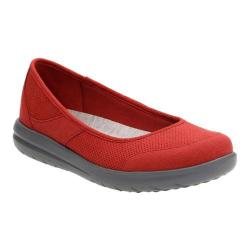 Women's Clarks Jocolin Myla Ballet Flat Red Perforated Textile