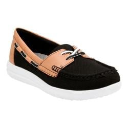 Women's Clarks Jocolin Vista Boat Shoe Black Perforated Textile