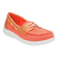 Women's Clarks Jocolin Vista Boat Shoe Coral Perforated Textile