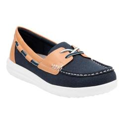 Women's Clarks Jocolin Vista Boat Shoe Navy Perforated Textile