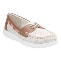 Women's Clarks Jocolin Vista Boat Shoe Off White Perforated Textile