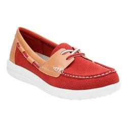 Women's Clarks Jocolin Vista Boat Shoe Red Perforated Textile