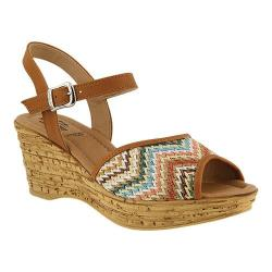 Women's Spring Step Allenisa Wedge Sandal Camel Multi Leather/Textile
