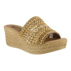 Women's Spring Step Calci Slide Beige Multi Leather/Textile