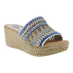 Women's Spring Step Calci Slide Denim Multi Leather/Textile