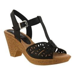 Women's Spring Step Ekam T Strap Sandal Black Leather