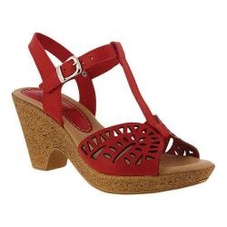 Women's Spring Step Ekam T Strap Sandal Red Leather
