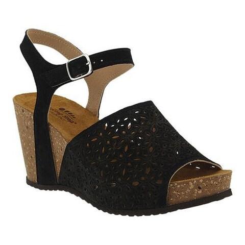 Women's Spring Step Lauralyn Quarter Strap Sandal Black Suede