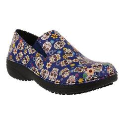 Women's Spring Step Ferrara Blue Small Skull Print Faux Leather