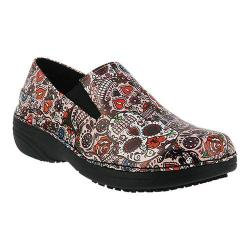 Women's Spring Step Ferrara Pink Multi Large Skull Print Faux Leather