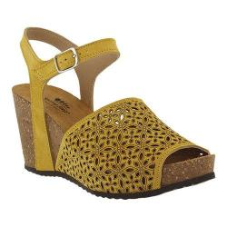 Women's Spring Step Lauralyn Quarter Strap Sandal Yellow Suede