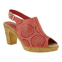 Women's Spring Step Liberty Peep Toe Slingback Red Leather