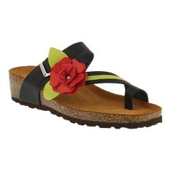 Women's Spring Step Lilah Toe Loop Sandal Black Leather (More options available)