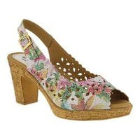 Women's Spring Step Lovelyness Floral Slingback White Multi Leather