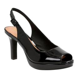 Women's Clarks Mayra Blossom Peep Toe Slingback Black Cow Patent Leather