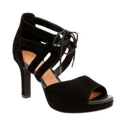 Women's Clarks Mayra Ellie Peep Toe Shoe Black Cow Suede