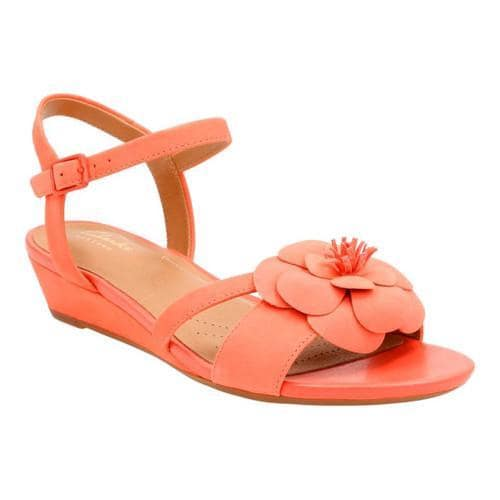 3530332db127 Shop Women s Clarks Parram Stella Ankle Strap Sandal Coral Cow Nubuck -  Free Shipping Today - Overstock.com - 14272094