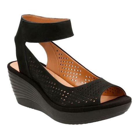 Women's Clarks Reedly Salene Wedge Ankle Strap Black Goat Nubuck