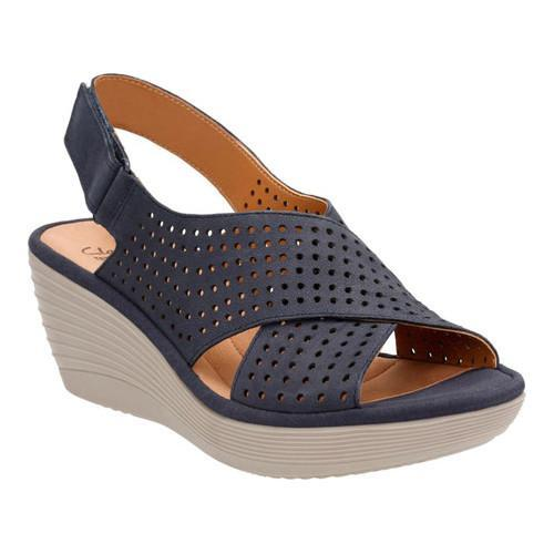 83532289a04b Shop Women s Clarks Reedly Variel Wedge Slingback Navy Goat Nubuck - Free  Shipping Today - Overstock.com - 14272117