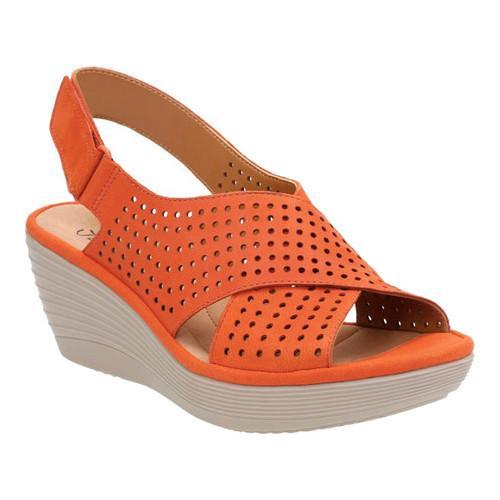 122224d04be Shop Women s Clarks Reedly Variel Wedge Slingback Orange Goat Nubuck - Free  Shipping Today - Overstock - 14272118