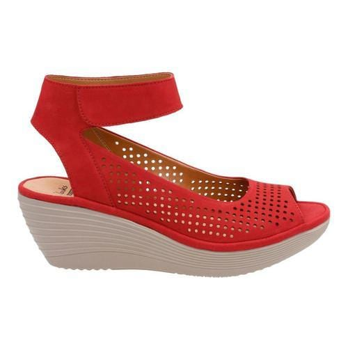 ce19e326bcc ... Thumbnail Women  x27 s Clarks Reedly Salene Wedge Ankle Strap Red Goat  ...