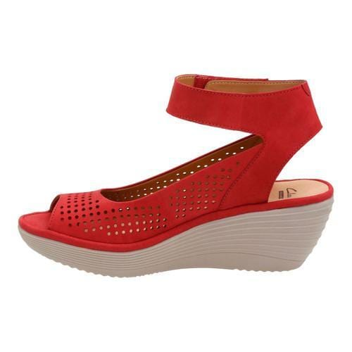 121cd98f96f ... Thumbnail Women  x27 s Clarks Reedly Salene Wedge Ankle Strap Red Goat  Nubuck