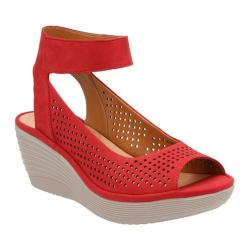 Women's Clarks Reedly Salene Wedge Ankle Strap Red Goat Nubuck
