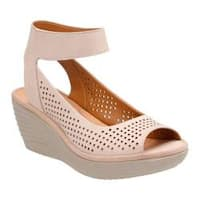 Women's Clarks Reedly Salene Wedge Ankle Strap Sand Goat Nubuck