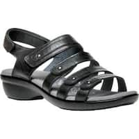 Women's Propet Aurora Strappy Slingback Sandal Black Full Grain Leather