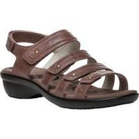 Women's Propet Aurora Strappy Slingback Sandal Brown Full Grain Leather