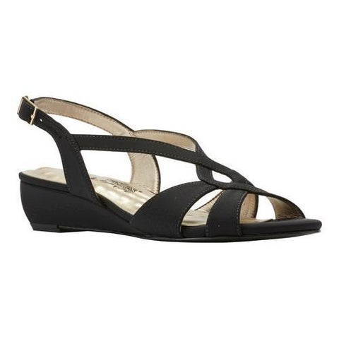 Women's Walking Cradles Dixie Demi Wedge Slingback Black Micro