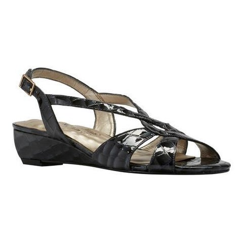 Women's Walking Cradles Dixie Demi Wedge Slingback Black Croco Print Leather