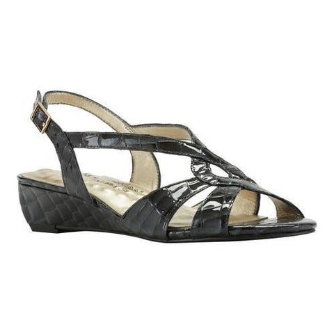 Women's Walking Cradles Dixie Demi Wedge Slingback Navy Croco Print Leather