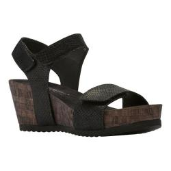 Women's Walking Cradles Theta Quarter Strap Wedge Sandal Black Matte Snake Print Leather