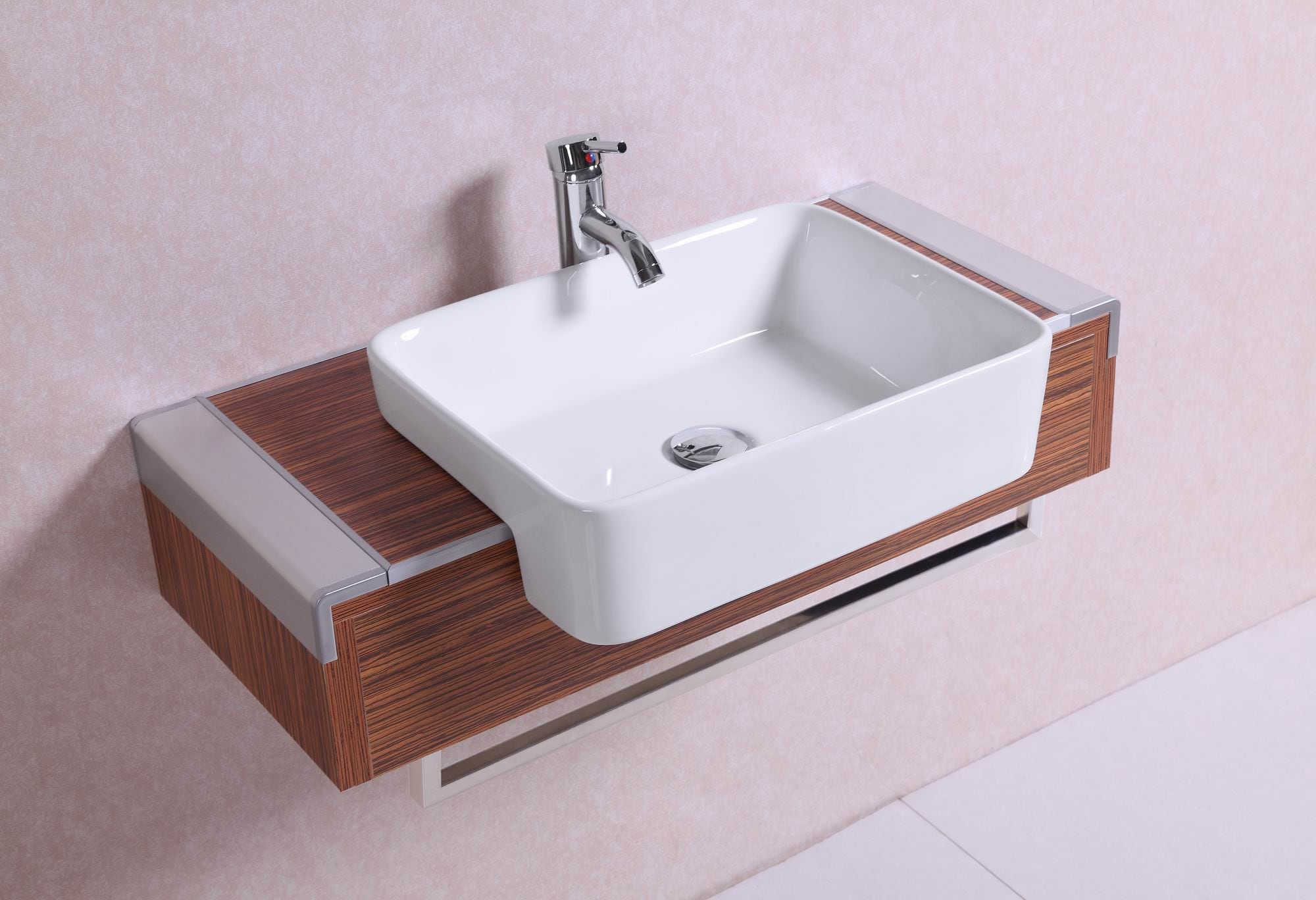32-inch Belvedere Modern Wall Mounted Veneer Bathroom Van...