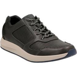 Men's Clarks Sirtis Mix Sneaker Black Cow Full Grain Leather