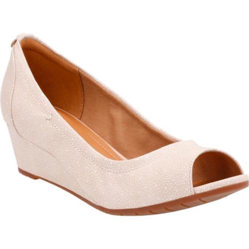 36160fce1a5f Shop Women s Clarks Vendra Daisy Wedge Peep Toe Shoe Black Interest Cow  Nubuck - Free Shipping Today - Overstock - 14283697