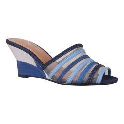 Women's J. Renee Bridgeway Wedge Slide Blue Multi Denim Fabric/Mesh