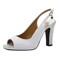 Women's J. Renee Calador Open Toe Slingback White Pearl Patent