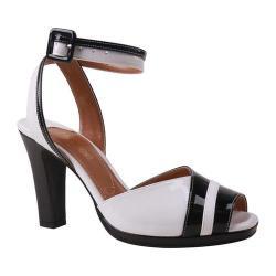 Women's J. Renee Kinnon Ankle Strap Sandal Black/White Patent Leather