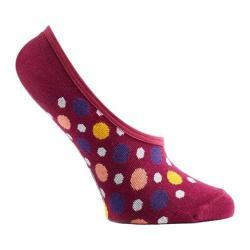 Women's Ozone Multicolored Dots 2 No Show Sock (3 Pairs) Fuchsia