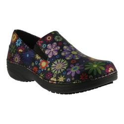 Women's Spring Step Manila Black Flowerpower Printed Leather