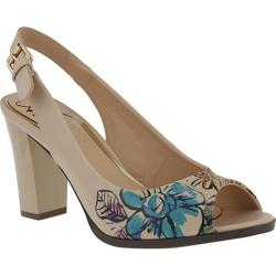 Women's Azura Priscilla Floral Slingback Beige Synthetic Leather