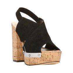 Women's Fergie Footwear Lunar Platform Sandal Black Suede