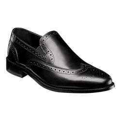 Men's Nunn Bush Norris Wing Tip Double Gore Slip-On Black Leather
