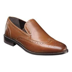 Men's Nunn Bush Norris Wing Tip Double Gore Slip-On Cognac Leather
