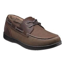 Men's Nunn Bush Schooner Moc Toe Two-Eye Boat Shoe Dark Brown Leather