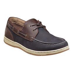 Men's Nunn Bush Schooner Moc Toe Two-Eye Boat Shoe Navy/Brown Combo Leather